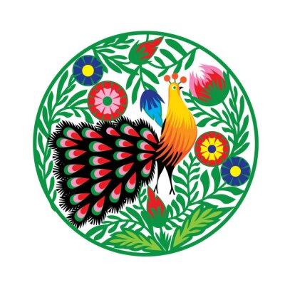 Cuadro wzór kwiatami z Ludowy i pawiem, Łowicki