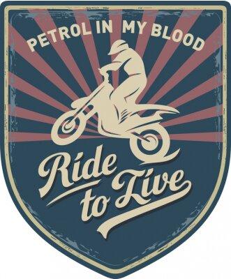 Cuadro Мотоциклист, Ездить, чтобы жить, Бензин в моей крови, мотоцикл, Мотокросс, нашивка, иллюстрация