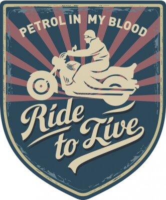 Cuadro Мотоциклист, Ездить, чтобы жить, Бензин в моей крови, мотоцикл, Спорт, нашивка, иллюстрация