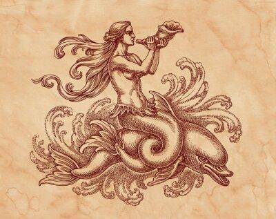 Cuadro Морская богиня на дельфине, графика. Исунок на коричневой бумаге тушью.