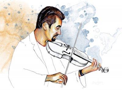 Cuadro Рисунок-иллюстрация ,, Музыкант играет на скрипке ,,.