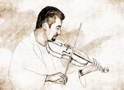 Cuadro Рисунок-иллюстрация ,, Скрипач ,,.