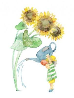 Cuadro 向日葵と男 の 子