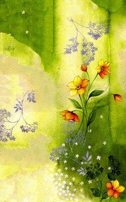 Cuadro 수채화배경위에그려진수선화줄기 와싸리꽃