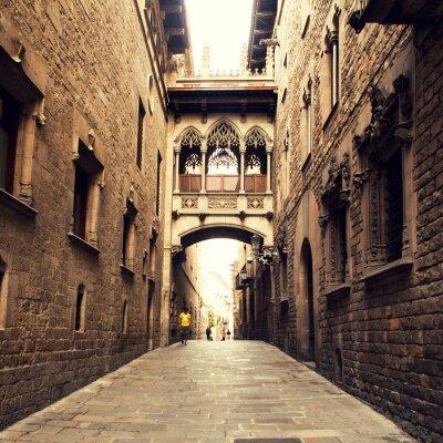 Cuadro Calle gótica con arco en Barcelona, cerca de la catedral.