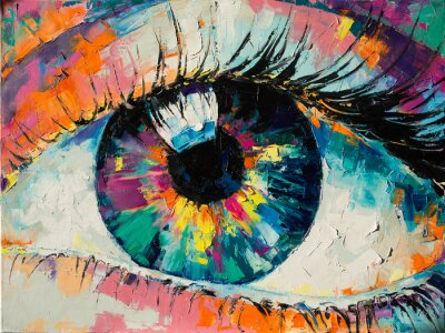 """Cuadro """"Fluorite"""" - oil painting. Conceptual abstract picture of the eye. Oil painting in colorful colors. Conceptual abstract closeup of an oil painting and palette knife on canvas."""