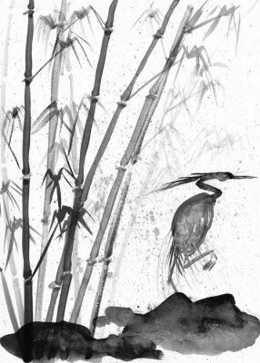 Cuadro Ilustración de acuarela garza y bambú