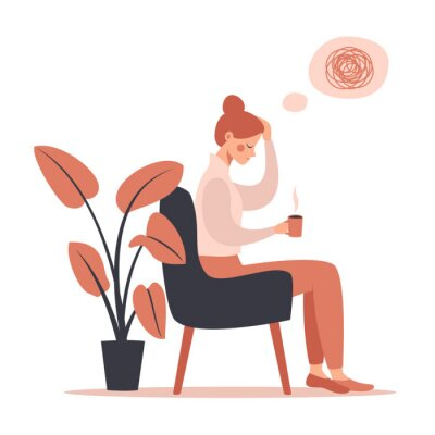 Cuadro Young woman with headache drinking hot coffee while sitting in chair. Vector illustration isolated from white background