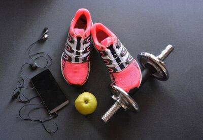 Cuadro zapatillas de deporte, ropa para gimnasio