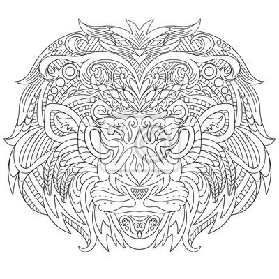 Zentangle cara estilizada de dibujos animados de león, aislado ...