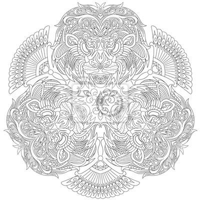 Zentangle dibujos animados estilizados tres máscaras de león ...