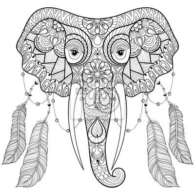 Cuadro Zentangle Elefante Indio Con Plumas De Aves En El Estilo Chic