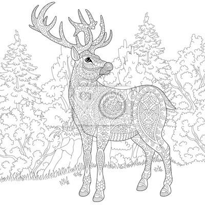 Cuadro Zentangle Estilizado Ciervos De Dibujos Animados Ciervo Renos