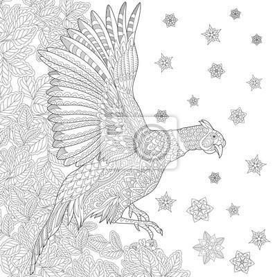 Zentangle estilizado dibujos animados aves faisán (polla, phoenix ...