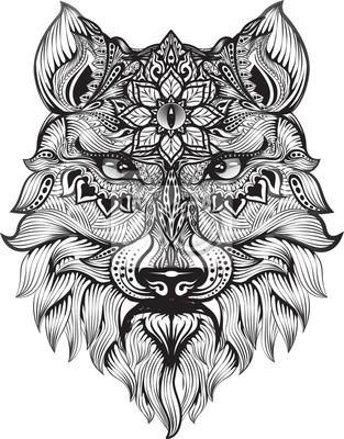 Zentangle Lobo De Detalle Para Colorear La Página Tatuaje Efecto