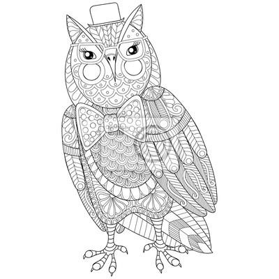Zentangle owl pintura para adulto anti estrés para colorear la ...