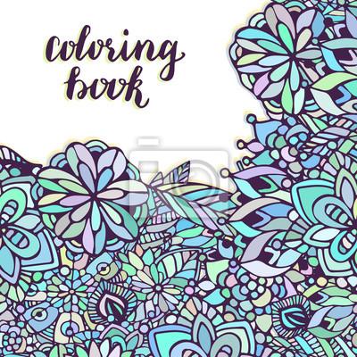 Zentangle Para Colorear Doodle Patron De Flores En El Vector