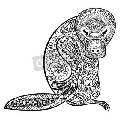 Zentangle tótem de platypus australiano para adultos contra el ...