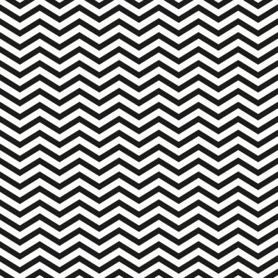 Cuadro Zigzag patrón con líneas negras elegante ilustración