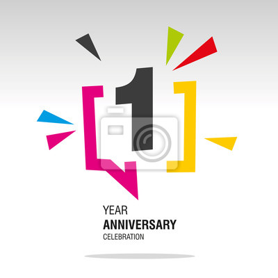 Fotomural 1 Year Anniversary colorful white modern logo icon banner holiday illustration