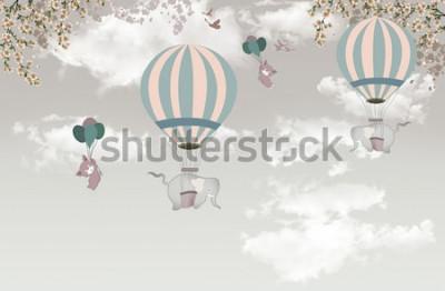 Fotomural 2 elefante con árbol de balon en el cielo fondo de pantalla 3d