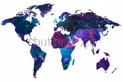 Fotomural 2d dibujado a mano ilustración del mapa del mundo. Imagen de acuarela graduada de color de planeta tierra aislada. Continentes colores Fondo blanco.