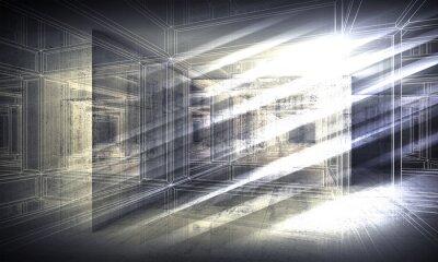Fotomural 3 d de fondo, la perspectiva de alambre de marco de vista
