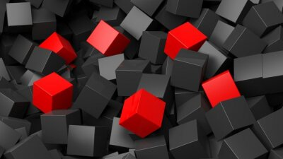Fotomural 3D cubos negros y rojos pila de fondo abstracto