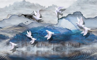 Fotomural 3d illustration, abstract grunge background, gray and blue waves, smoke, white gilded ceramic birds