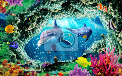 Fotomural 3d illustration  wallpaper under sea dolphin, Fish, Tortoise, Coral reefsand water with broken wall bricks background. will visually expand the space in a small room, bring more light and become an ac