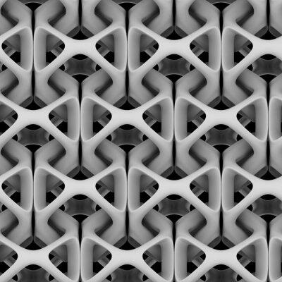 Fotomural 3d ilustración, blanco mate cadena abstracta sobre un fondo negro