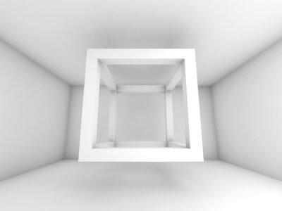 Fotomural 3d ilustración de fondo, cubo vacío haz volar
