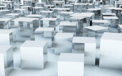 Fotomural 3D, masa, cubo, acero, metal, reflexión