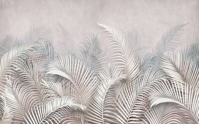 Fotomural 3d picture of palm leaves on the background