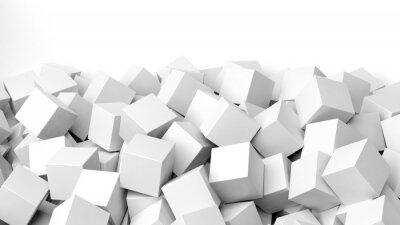 Fotomural 3D pila de cubos blancos, aislado en blanco con copia espacio