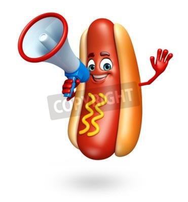 3d Prestados Ilustración De Hot Dog Personaje De Dibujos Animados