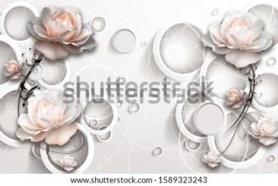 Fotomural 3D Rings and Flowers wallpaper