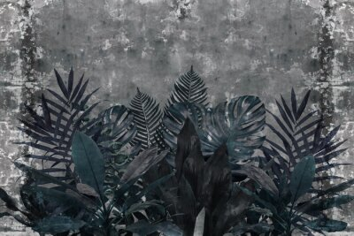 Fotomural 3d wallpaper, blue leaves of houseplants on concrete wall textured background. The original panel will turn your room in with the most recent world trends in interior fashion.