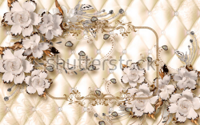 Fotomural 3d wallpaper design with ceramic jewels and flowers for photomural