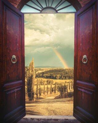 Fotomural Abra la puerta y el paisaje