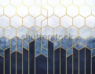 Fotomural Abstracción geométrica de hexágonos sobre un fondo en relieve azul con elementos de oro. Fresco para impresión de interiores, Papeles pintados.