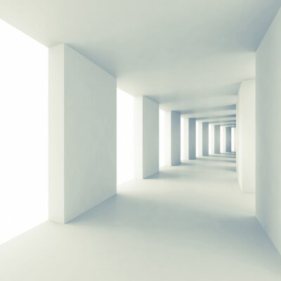 Fotomural Abstract architecture 3d background, empty white corridor