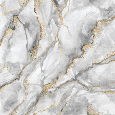 Fotomural abstract background, creative texture of white marble with gold veins, artistic paint marbling, artificial fashionable stone, marbled surface