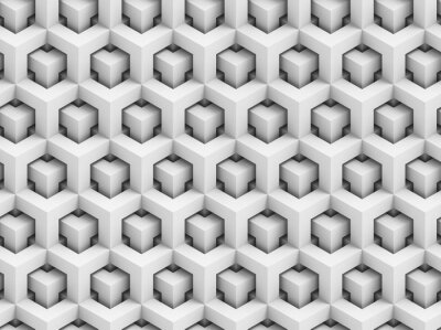 Fotomural Abstract polygonal 3D seamless pattern - geometric box structure background