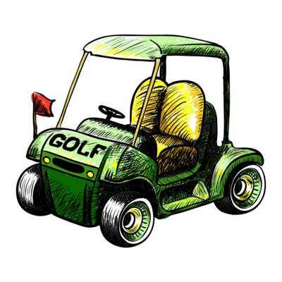 Fotomural Abstracto aislado canasta vector golf. Línea vector esquema de color