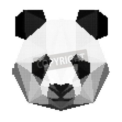 Fotomural Abstracto monocromo oso panda retrato aislado sobre fondo blanco para su uso en el diseño de la tarjeta, la invitación, el cartel, la bandera, el cartel, cartelera cubierta