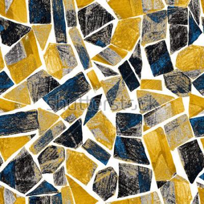Fotomural Acuarela abstracta de patrones sin esencia. Obra de arte en estilo geométrico moderno. Contemporáneo. Vitral