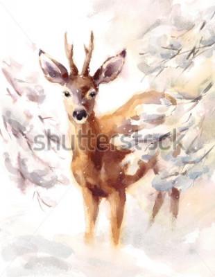 Fotomural Acuarela ciervos pintados a mano invierno escena ilustración