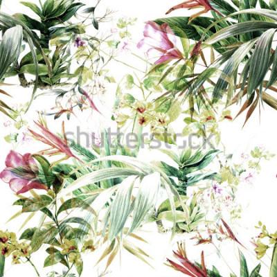 Fotomural Acuarela de hojas y flores, patrón transparente sobre fondo blanco