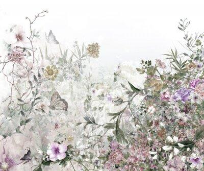 Fotomural Acuarela de hojas y flores, sobre fondo blanco